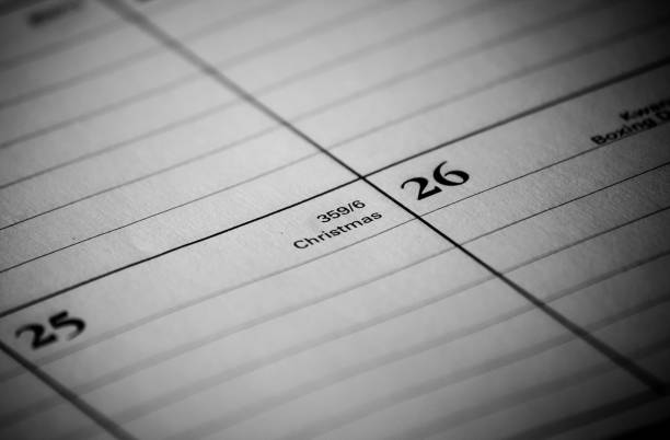 Calendar event: Christmas Day Zoomed in black and white photo of a 2017 holiday/vacation calendar 2020 2029 stock pictures, royalty-free photos & images