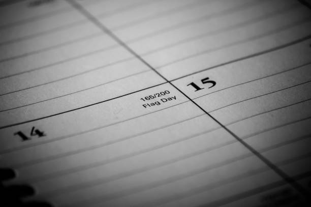 Calendar event: Flag Day Zoomed in black and white photo of a 2017 holiday/vacation calendar 2020 2029 stock pictures, royalty-free photos & images