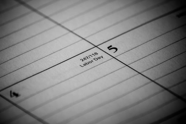 Calendar event: Labor Day Zoomed in black and white photo of a 2017 holiday/vacation calendar 2020 2029 stock pictures, royalty-free photos & images
