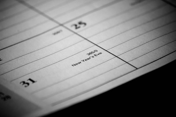 Calendar event: New Years Zoomed in black and white photo of a 2017 holiday/vacation calendar 2020 2029 stock pictures, royalty-free photos & images