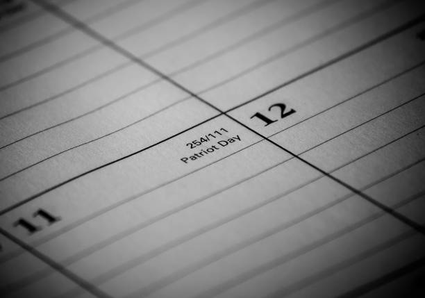 Calendar event: Patriot Day Zoomed in black and white photo of a 2017 holiday/vacation calendar 2020 2029 stock pictures, royalty-free photos & images