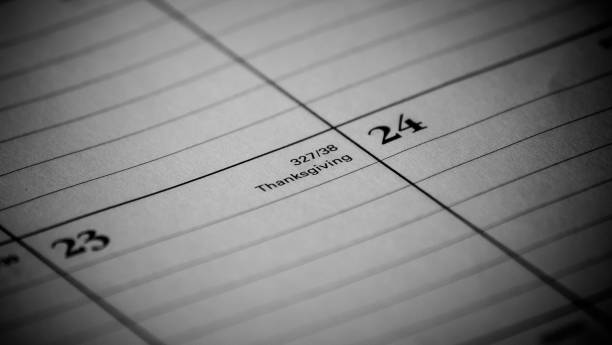 Calendar event Zoomed in black and white photo of a 2017 holiday/vacation calendar 2020 2029 stock pictures, royalty-free photos & images