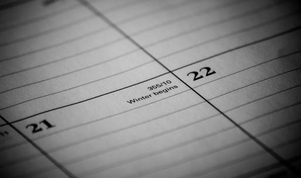 Calendar event: Winter begins Zoomed in black and white photo of a 2017 holiday/vacation calendar 2020 2029 stock pictures, royalty-free photos & images