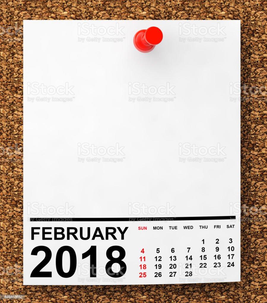 Calendar February 2018. 3d Rendering stock photo