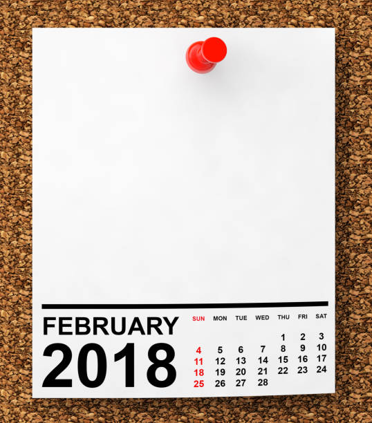 calendar february 2018. 3d rendering - february stock photos and pictures