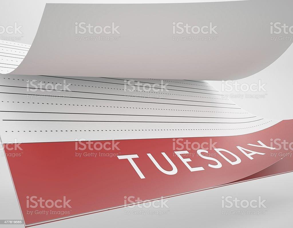 Calendar Flip - Tuesday stock photo