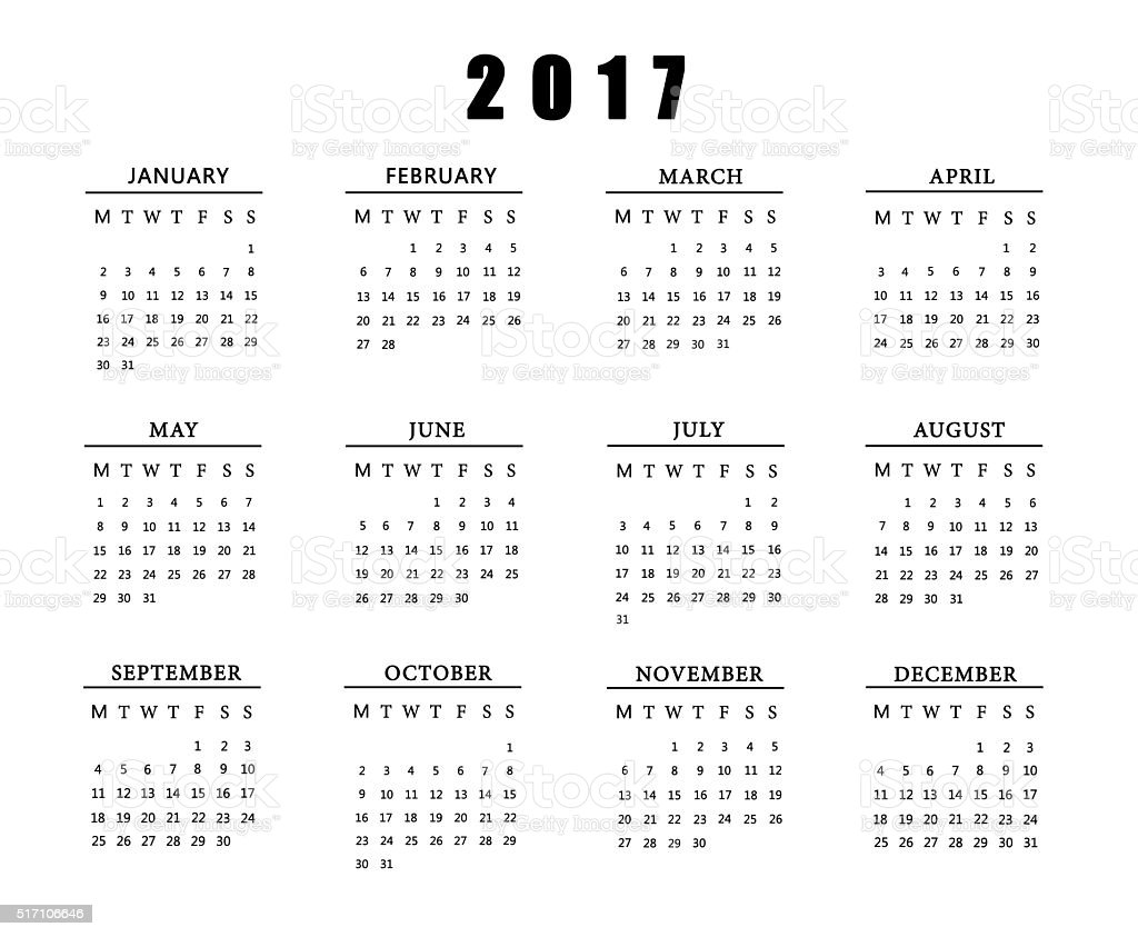 Calendar for 2017 on white background. stock photo