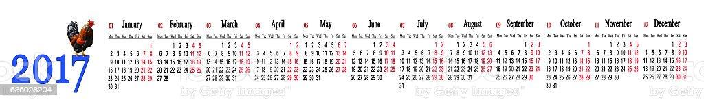 calendar for 2017 with twelve months in a row - foto de acervo