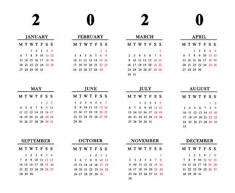 istock Calendar for 2020 on white background. 1135156617