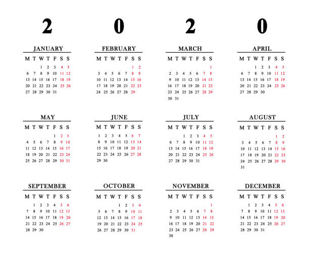 Calendar for 2020 on white background. stock photo