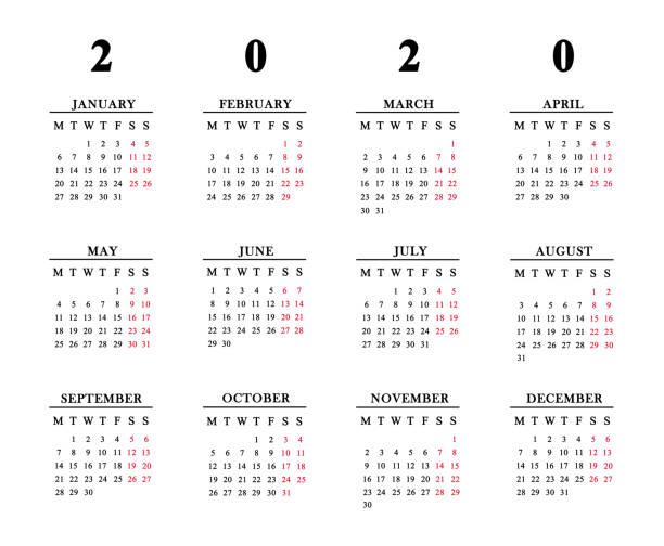 kalender 2020 auf weißem hintergrund. - donnerstagnachmittag stock-fotos und bilder