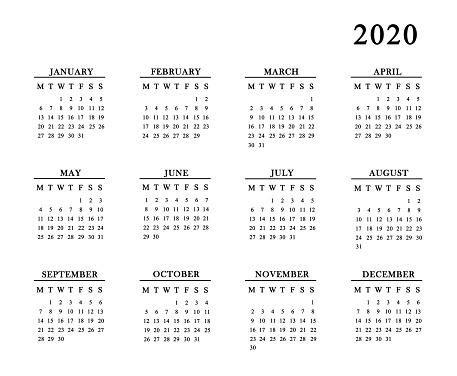 istock Calendar for 2020 on white background. 1135673634