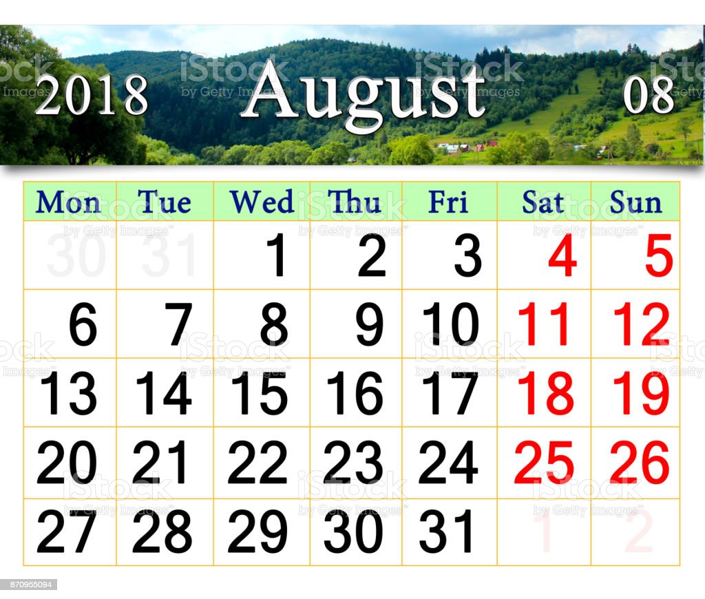 calendar for August 2017 with mountain river stock photo