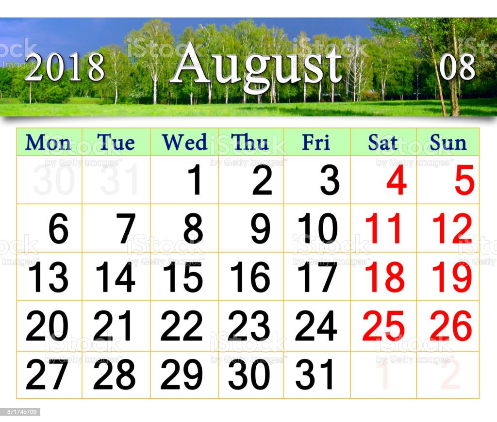 calendar for August 2018 with landscape with storm clouds stock photo
