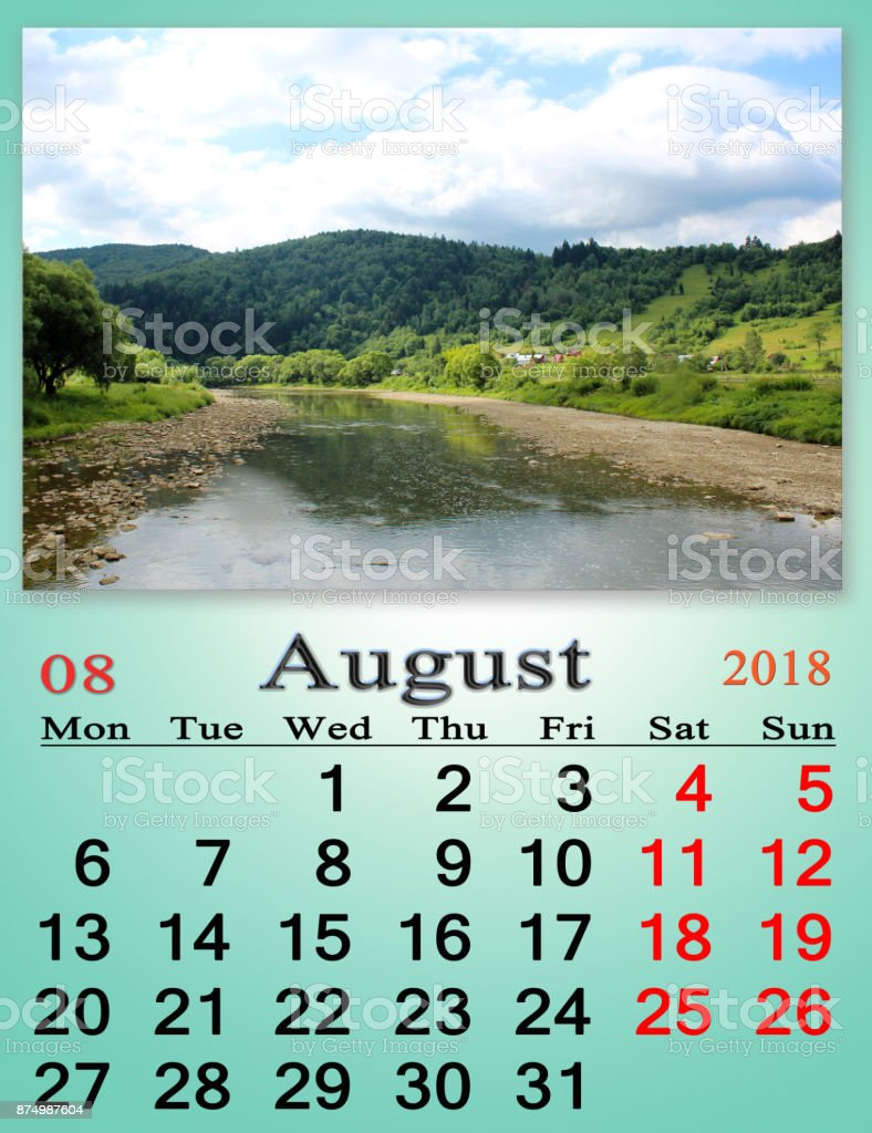 calendar for August 2018 with mountain river stock photo