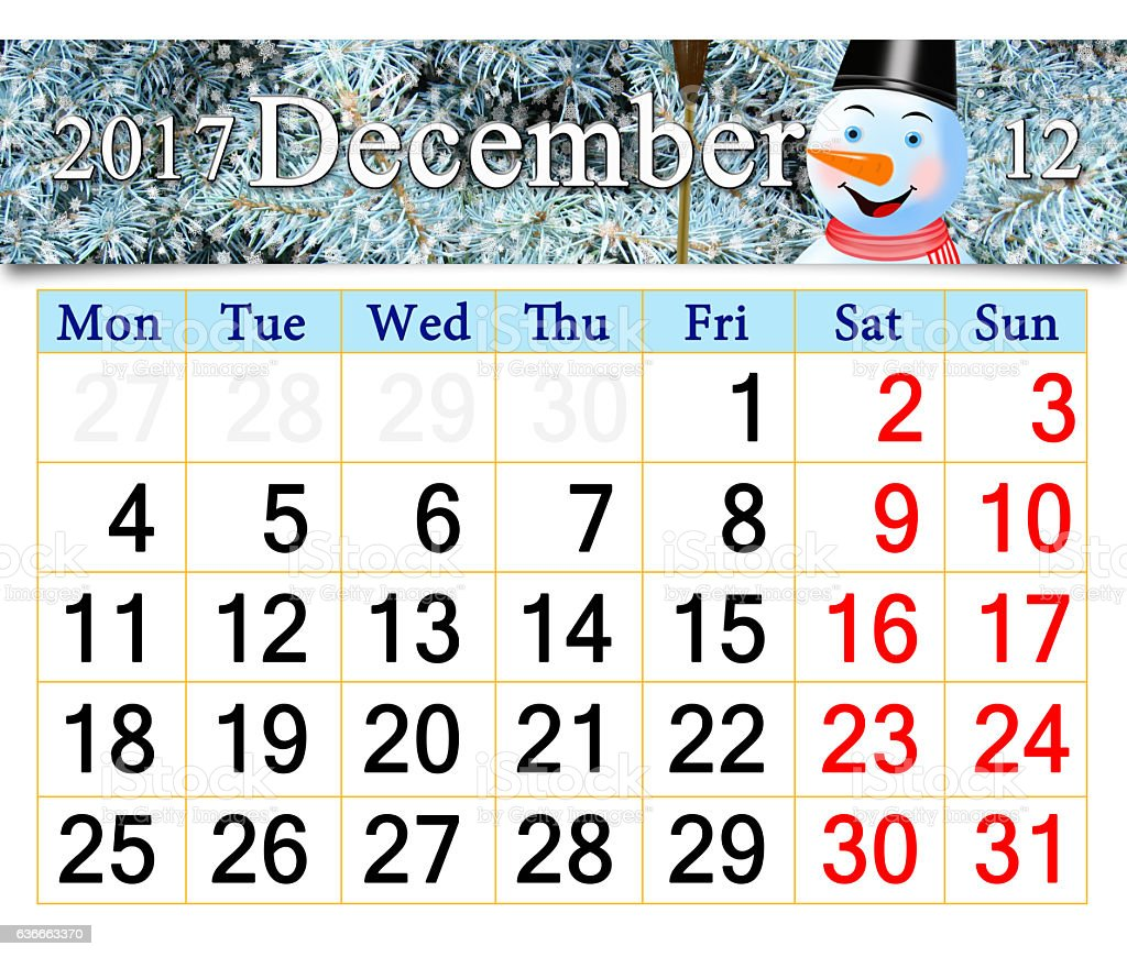 calendar for December 2017 with picture of fabulous snowman stock photo