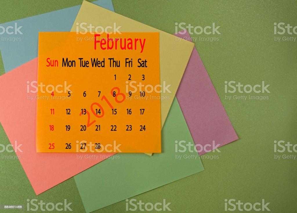 calendar for February 2018 closeup stock photo