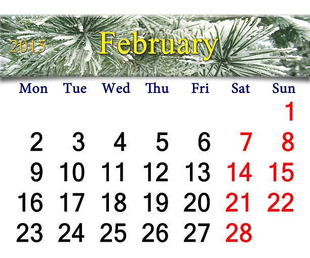 kalender für februar 2015 mit kiefer zweige - wetter dienstag stock-fotos und bilder