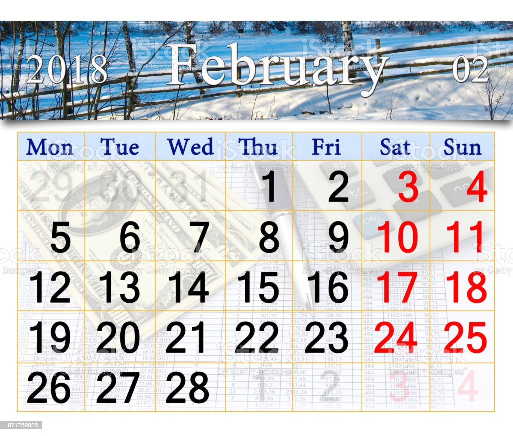 calendar for February of 2018 with winter landscape stock photo