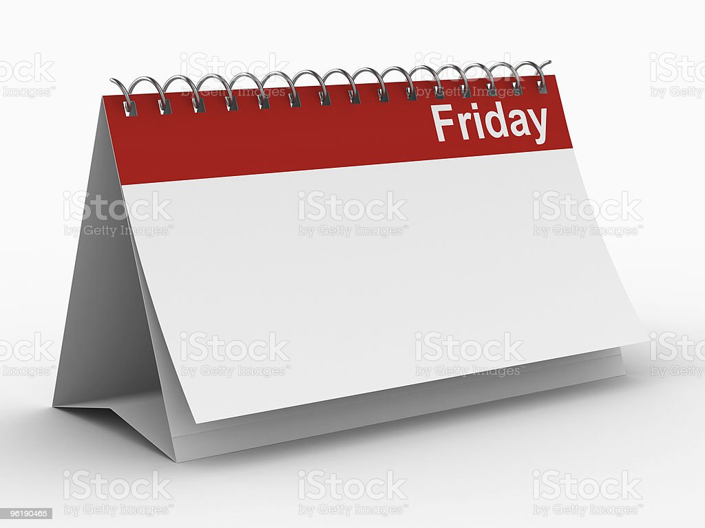 Calendar for friday on white background. Isolated 3D image royalty-free stock photo