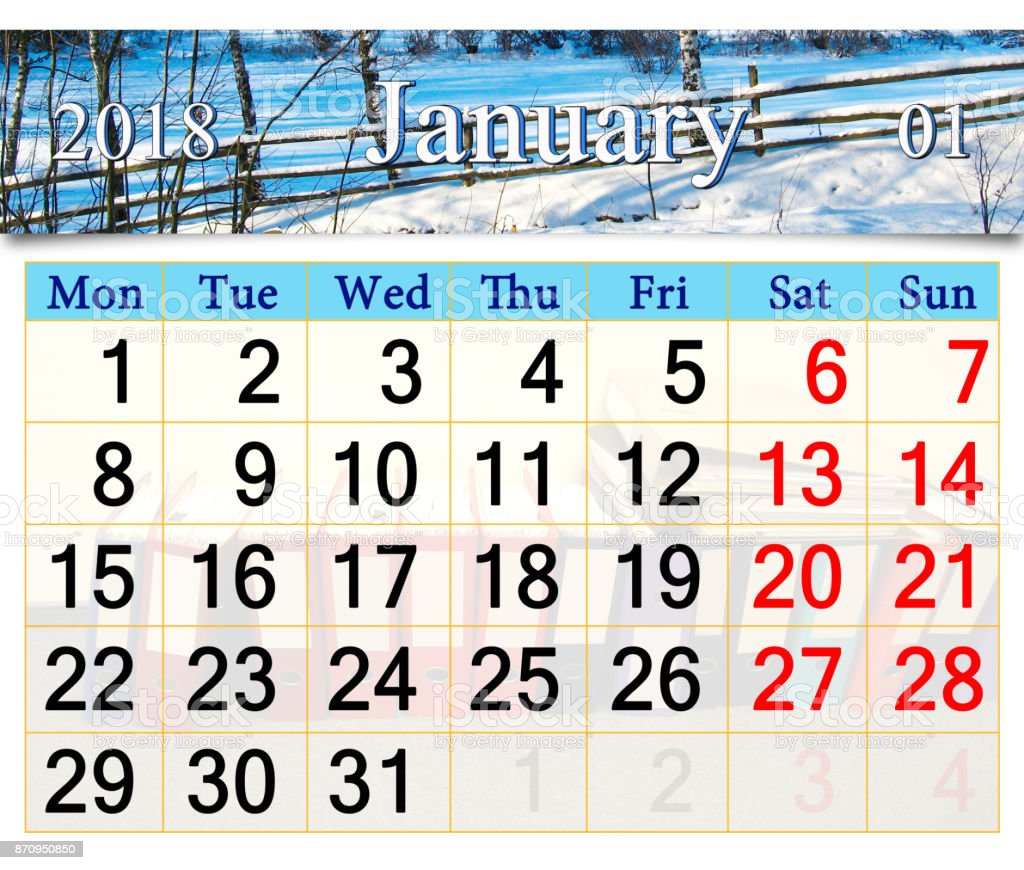 calendar for January of 2018 with winter landscape stock photo