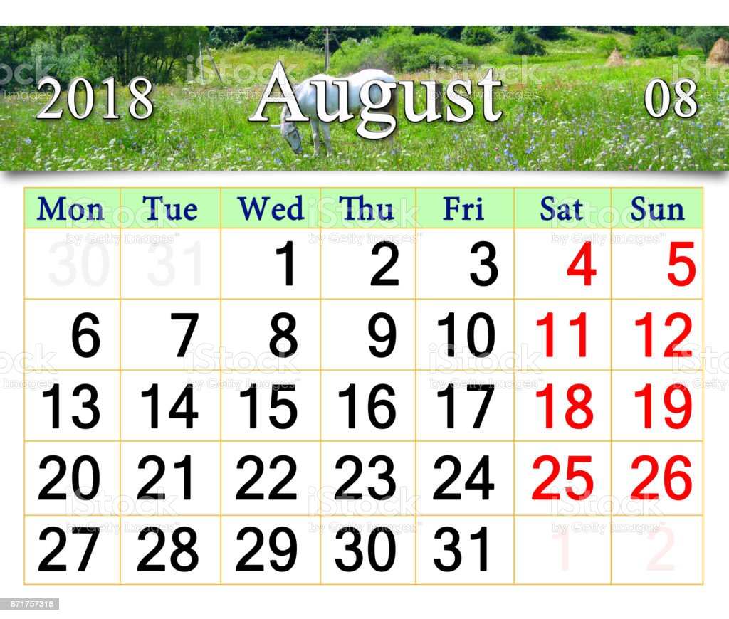 calendar for July 2018 with horse in the summer field stock photo