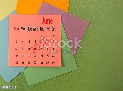 istock calendar for June 2018 close up 884651418