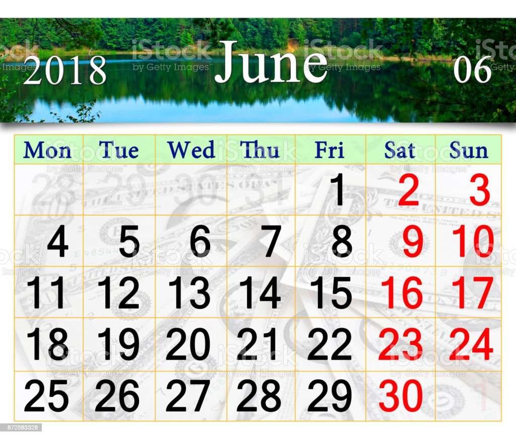 calendar for June 2018 on the background of summer stock photo