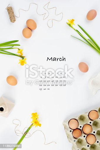 istock Calendar for March 2019 with creative background 1135070391