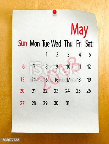 istock Calendar for May 2018 close-up. 895677678