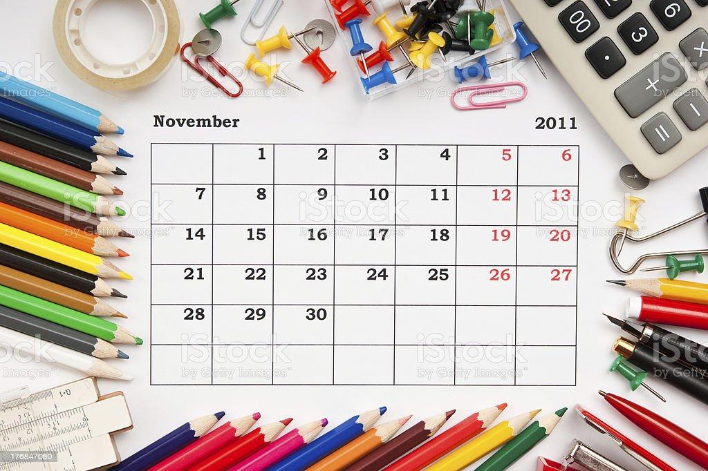 Calendar for November 2011 stock photo