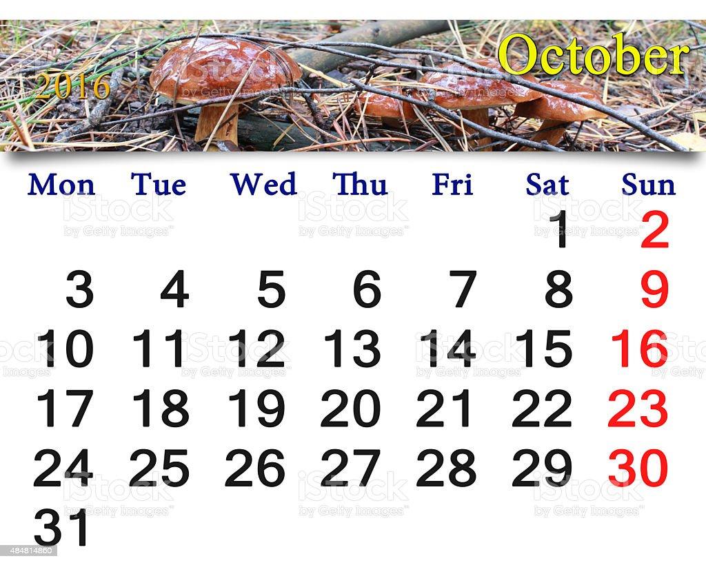 calendar for October 2016 with mushroom Boletus badius stock photo