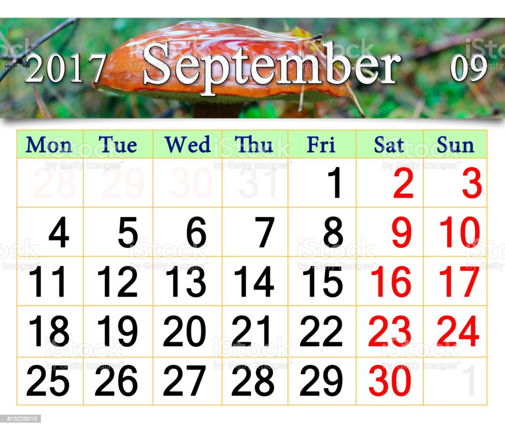 calendar for October 2017 with mushroom Boletus badius stock photo