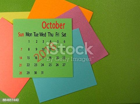 istock calendar for October 2018 close-up 884651440