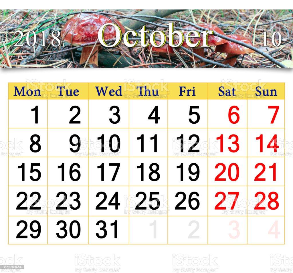 calendar for October 2018 with mushroom Boletus badius stock photo