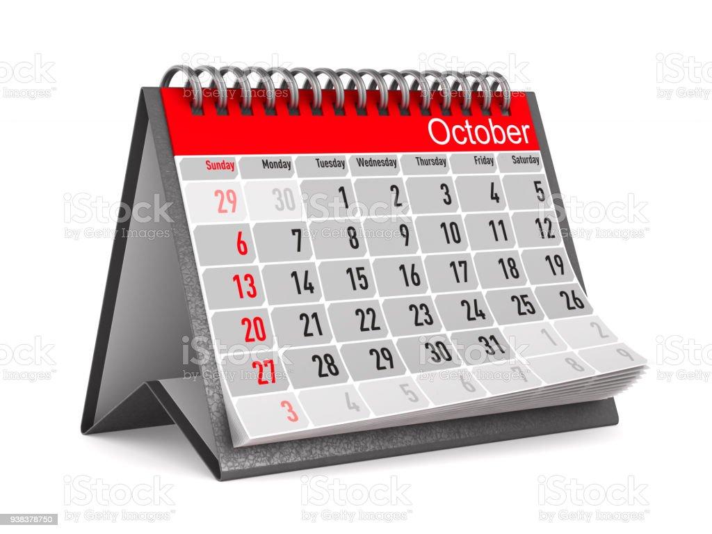 Kalender für Oktober. Isolierte 3D-Illustration – Foto