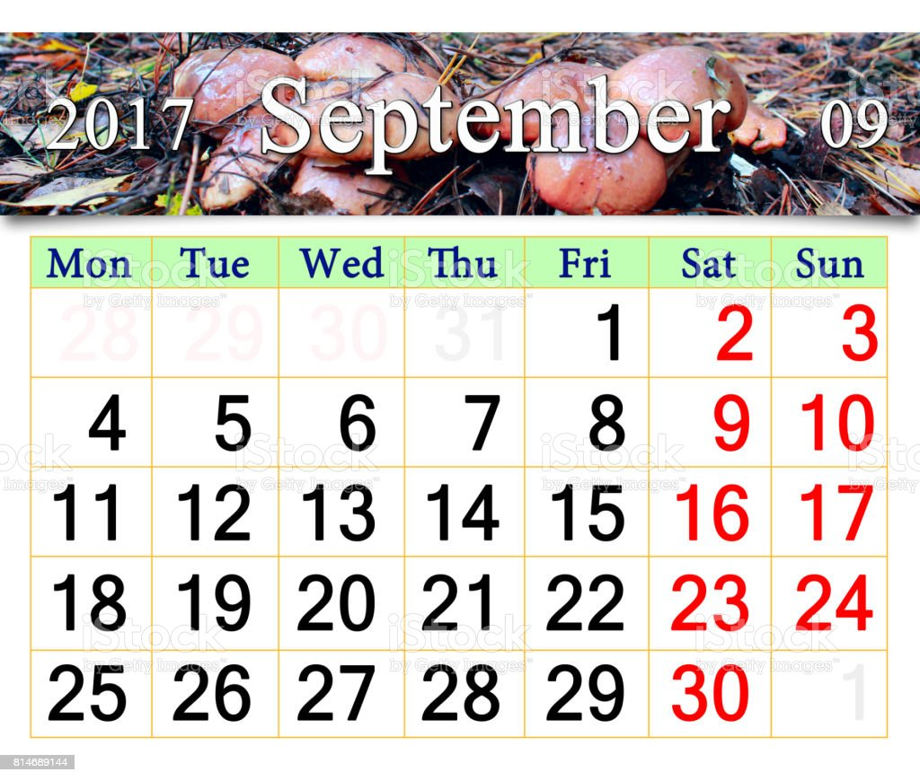 calendar for September 2017 with mushrooms of Suillus stock photo
