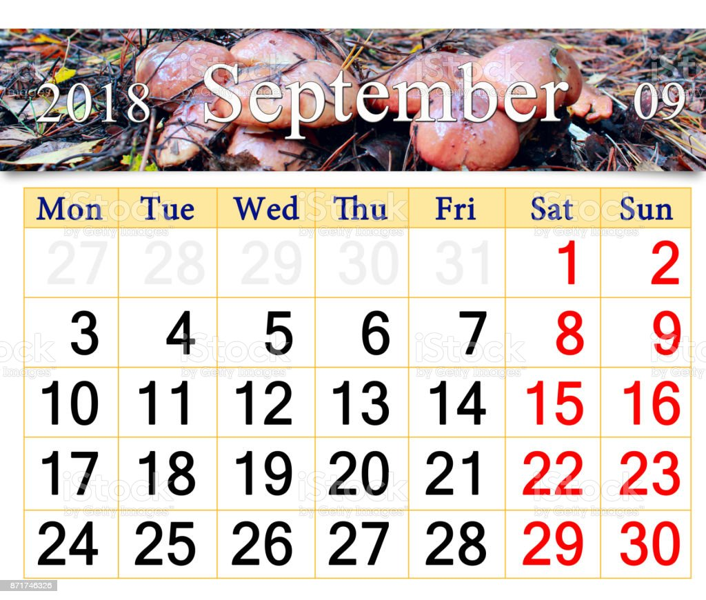 calendar for September 2018 with mushrooms of Suillus stock photo