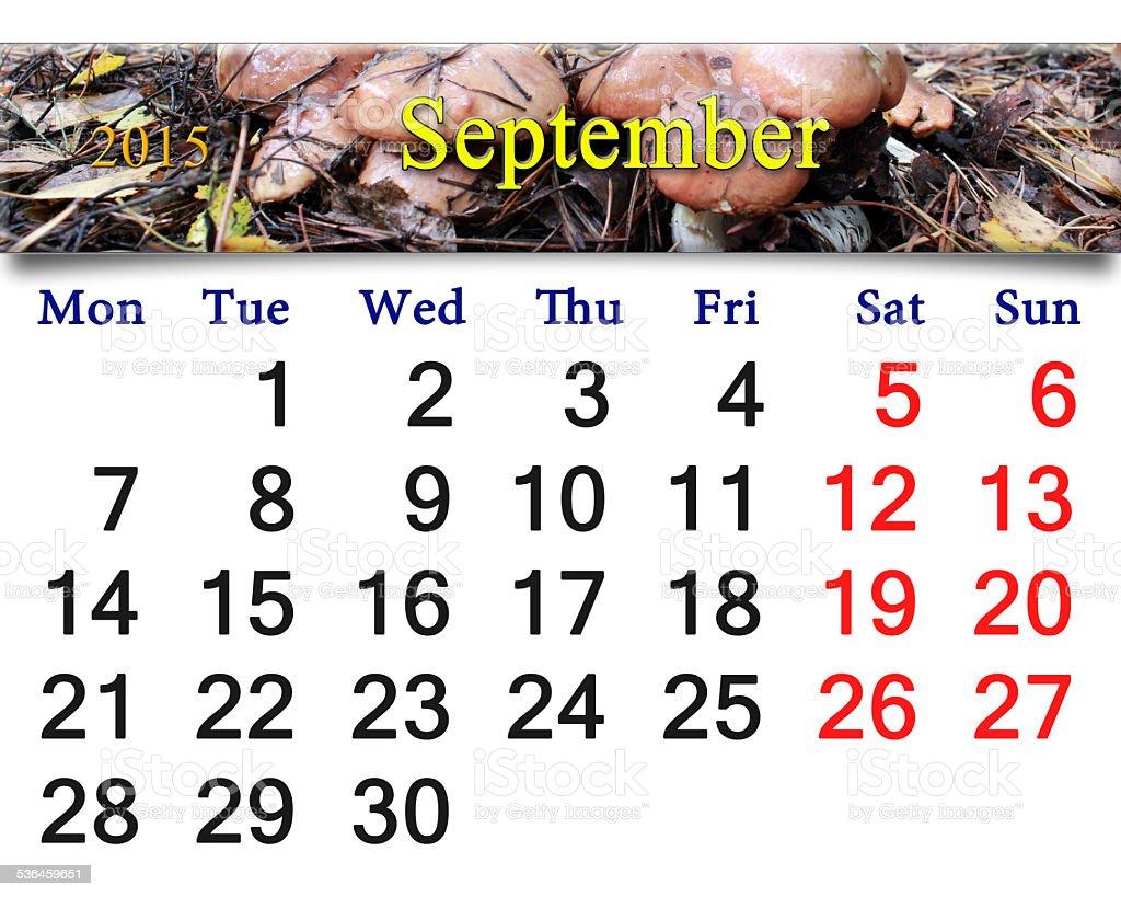 Calendario Funghi.Calendario Per Settembre 2015 Con Funghi Fotografie Stock