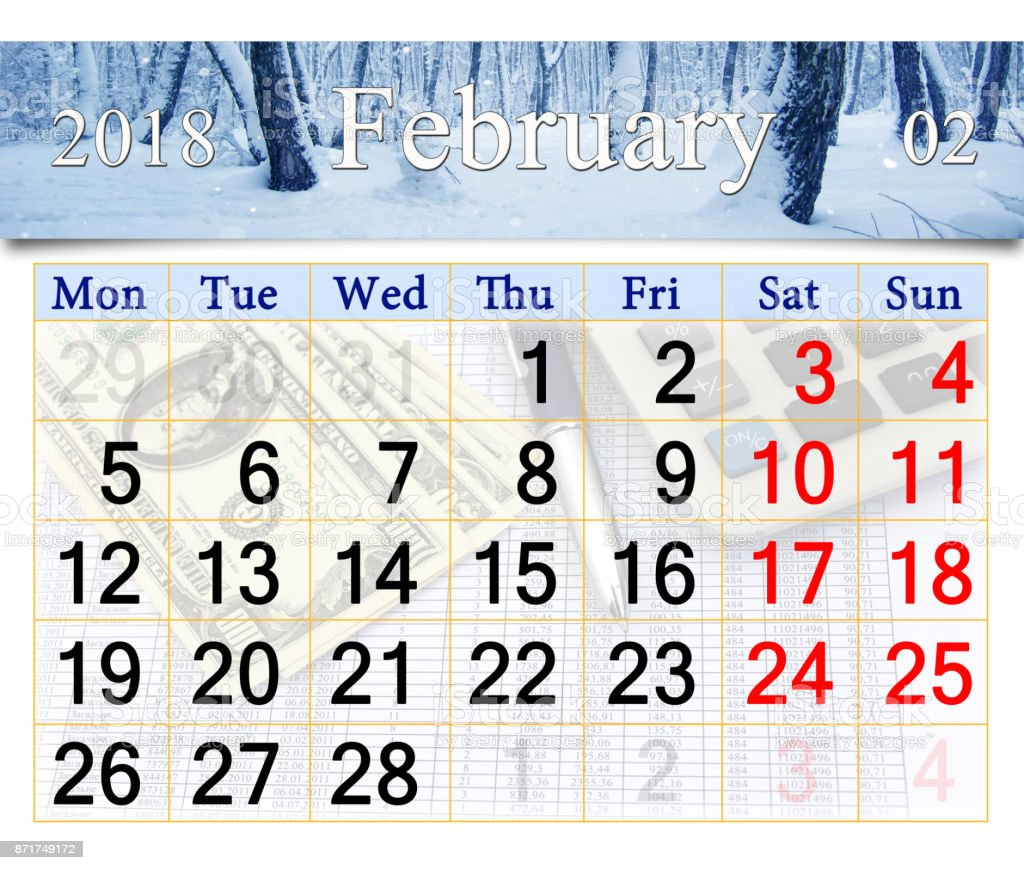 calendar for the February of 2018 with winter landscape stock photo