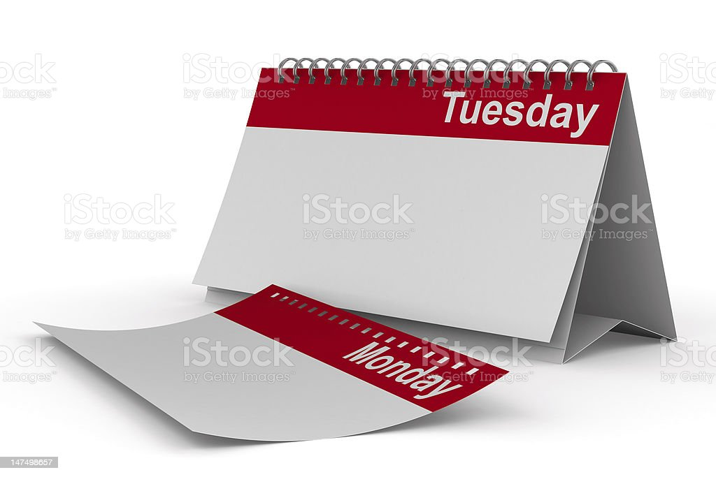 Calendar for tuesday on white background. Isolated 3D image stock photo