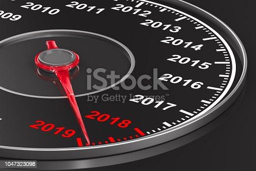 istock Calendar from speedometer on black background. 3D illustration 1047323098