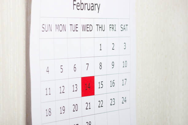 Calendar holiday February 14th Valentine's day is highlighted in red stock photo