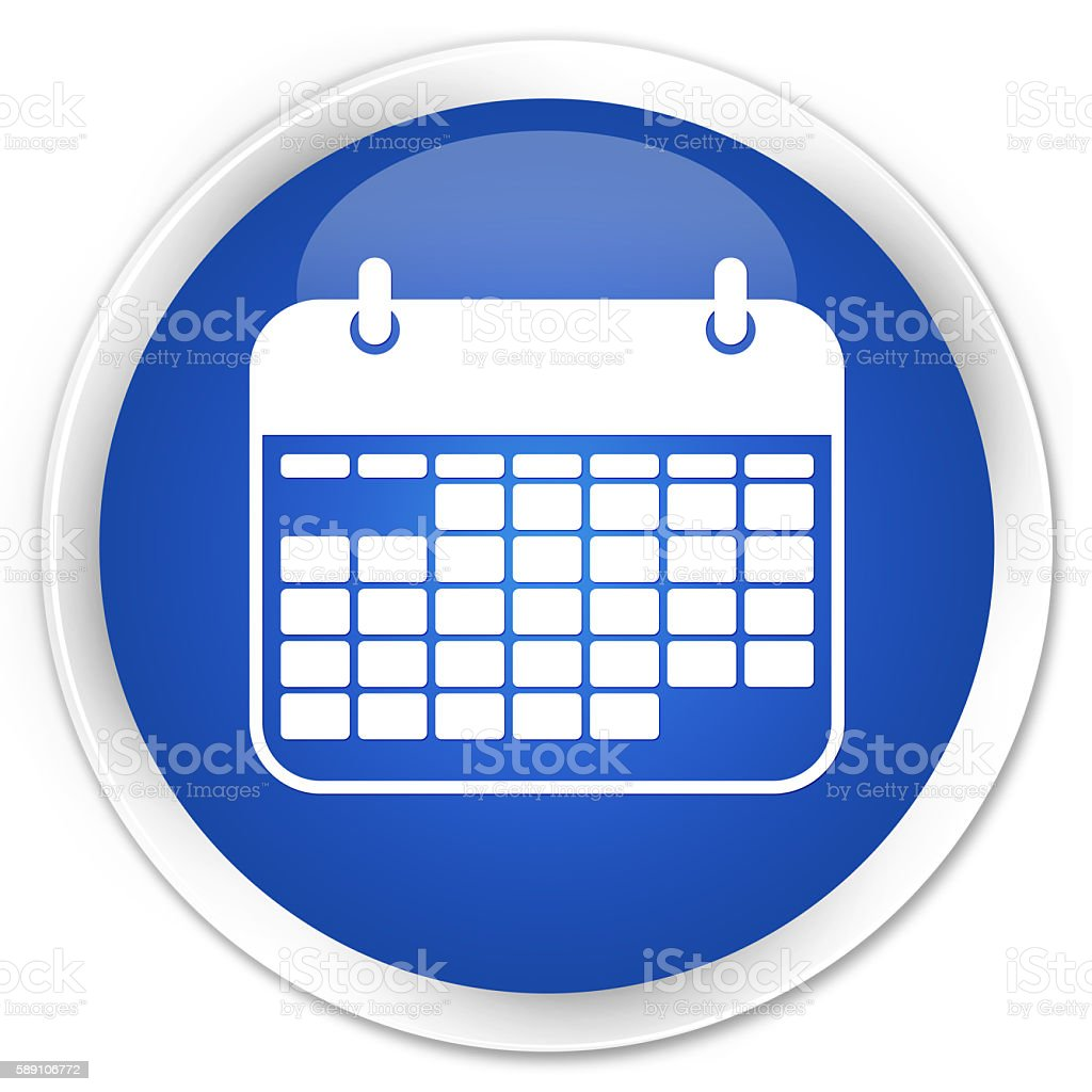 Calendar icon blue glossy round button stock photo