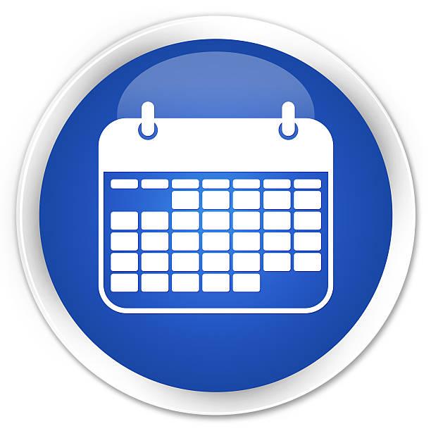 calendar icon blue glossy round button - kalender icon stock-fotos und bilder