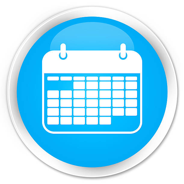 calendar icon cyan blue glossy round button - kalender icon stock-fotos und bilder