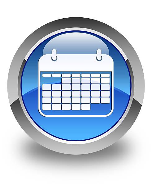 kalender-symbol glänzende blaue runde schaltfläche - kalender icon stock-fotos und bilder