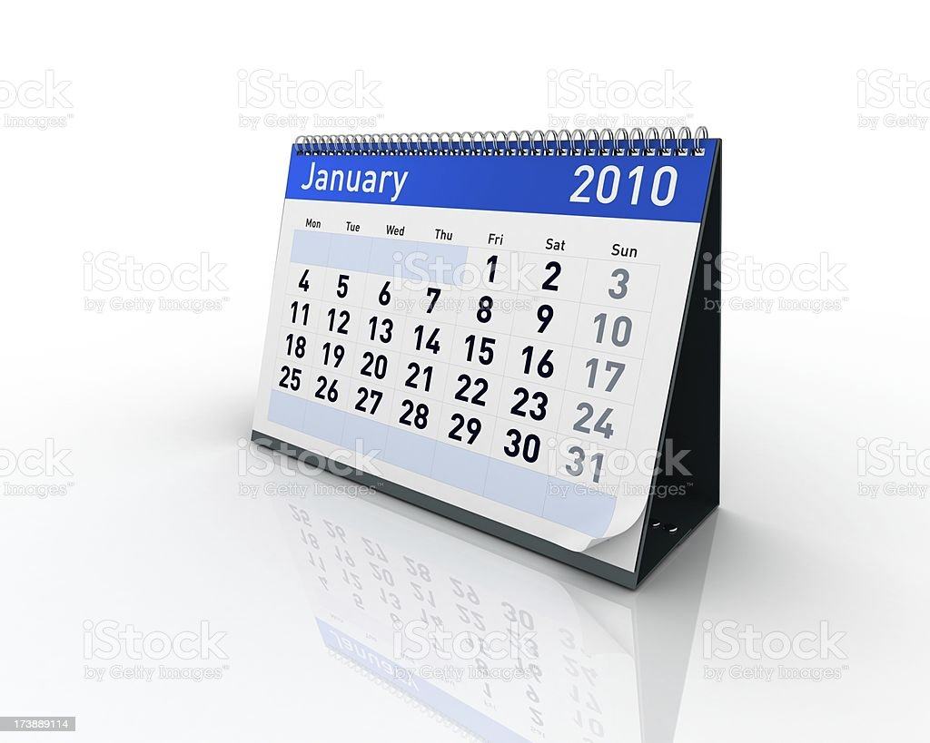 Calendar - January 2010 royalty-free stock photo
