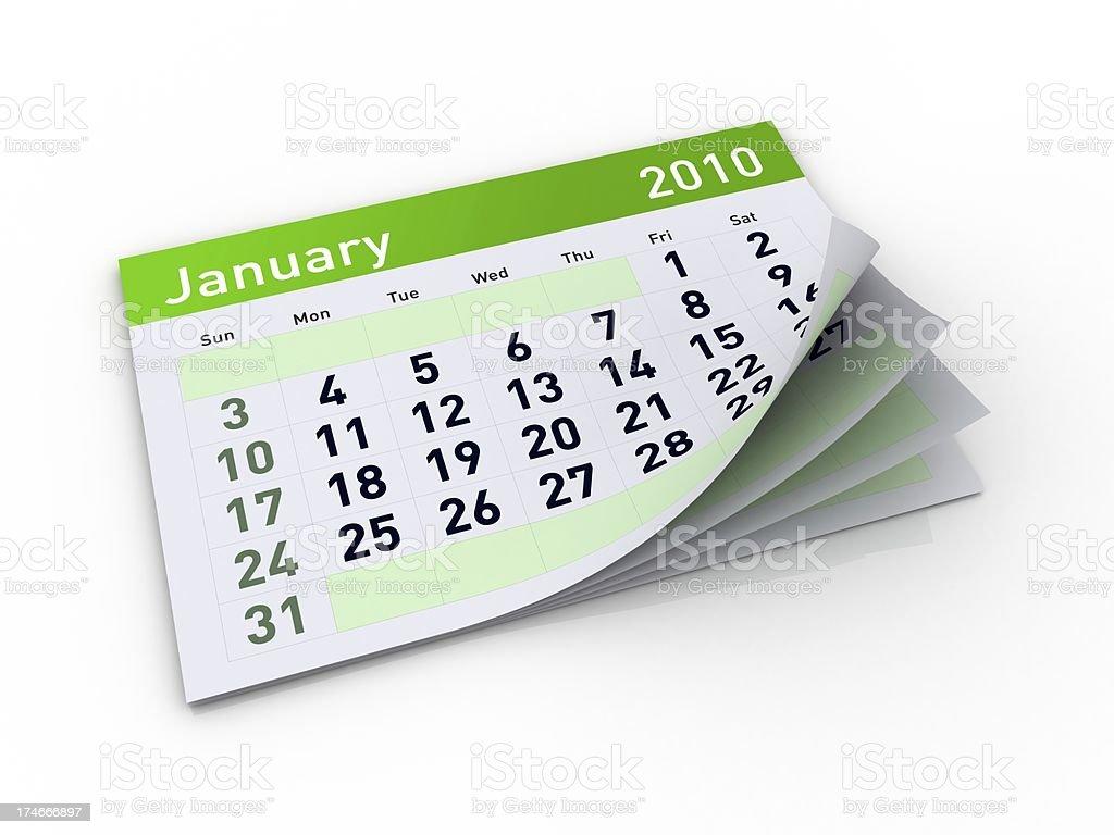Calendar - January 2010 royalty-free stock photo