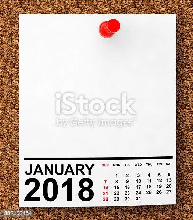 istock Calendar January 2018. 3d Rendering 882102454